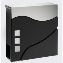 Design postaláda újságtartóval V28 fekete - inox