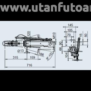 Ráfutófék-V 251 S, 2700 kg, felső, Fék 3062/3081, AK 270 Optima, orrkeréktartó