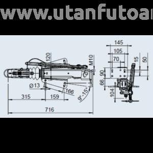 Ráfutófék-V 251 S, 2700 kg, alsó, Fék 1637/2051, AK 270 Optima, orrkeréktartó