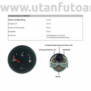 Üzemanyag mérő műszer 12V, Ø 52 mm