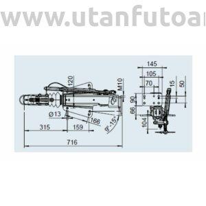 Ráfutófék-V 251 S, 2700 kg, alsó, Fék 2361, AK 270 Optima, orrkeréktartó