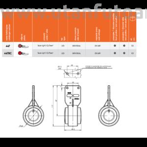 Helyzetjelző lámpa W23S (447BC)PIROS-FEHÉR LED